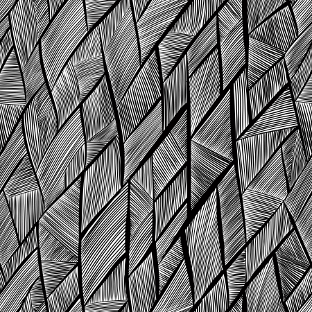 Seamless pattern black and white abstract lines. Vector