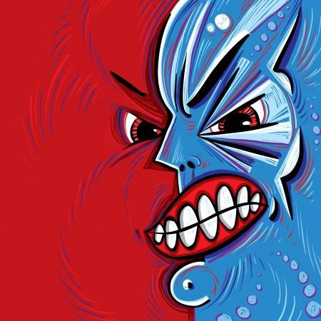 Angry face vector cartoon. Illustration