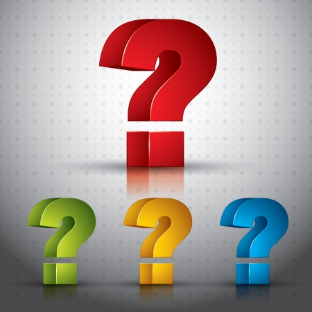 question icon: 3d question mark vector icon.
