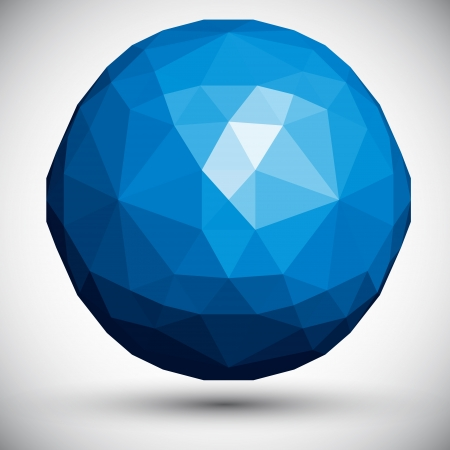 Abstract faceted sphere, 3d vector design. Vector