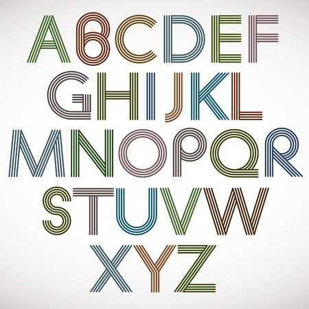 e u: Retro style alphabet, vector typeface.
