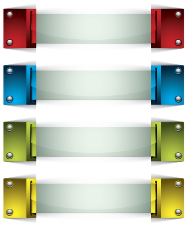 3d banners with buttons and glass. Stock Vector - 13915859