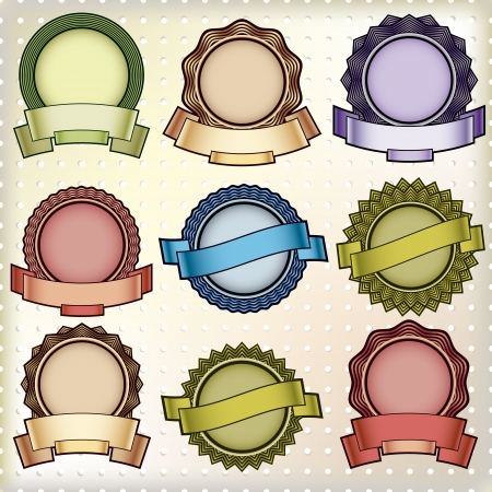 round frame: Vintage labels with blank banners.