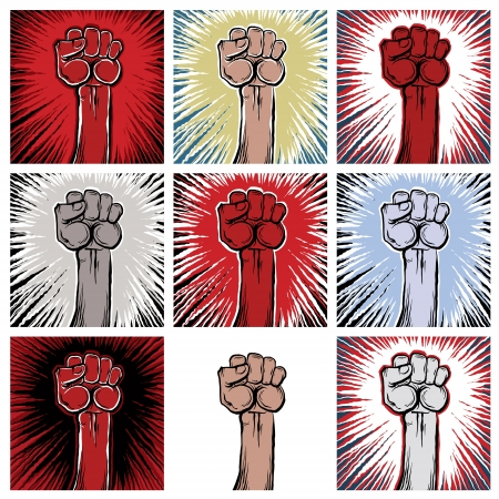 A clenched fist held high in protest. Illustration