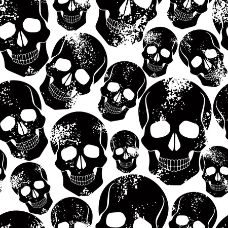 Black skulls seamless pattern. Vector