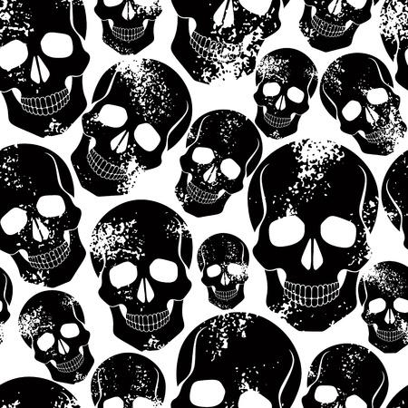 skull: Cr�nes noirs seamless pattern.