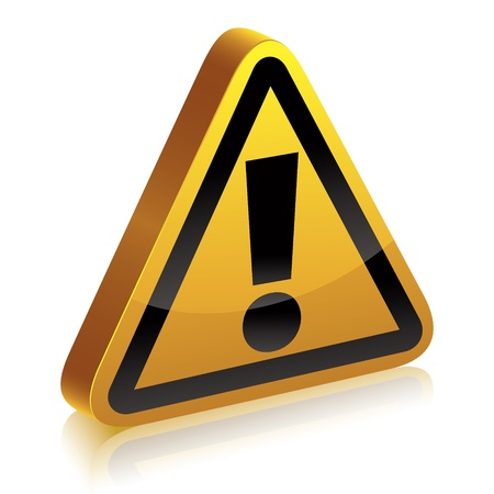 3d warning sign with exclamation point. Illustration