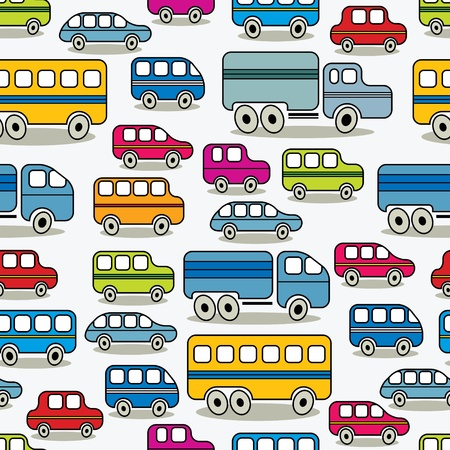 mini bus: Cartoon retro cars seamless pattern