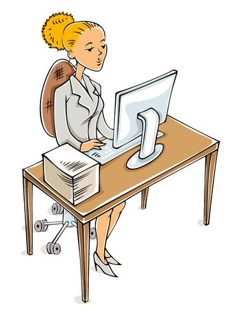 busy office: Young business woman working on computer