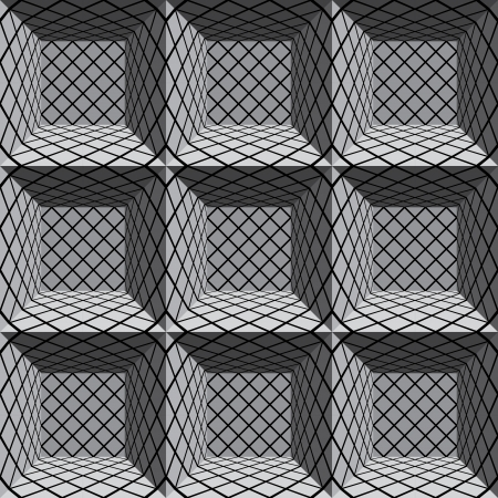 3d geometric architectural seamless pattern. Vector