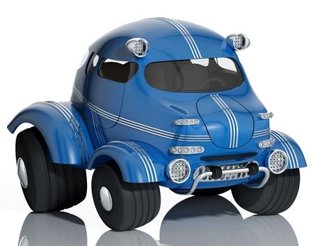 Синий автомобиль на белом фоне, 3D