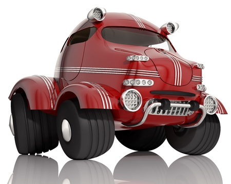 Red car isolated on white background, 3d