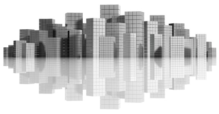 City panorama isolated on white, 3d  photo