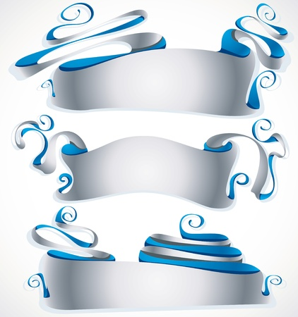 grotesque: Abstract grotesque style silver banners