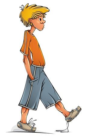 clumsy: Divertente adolescente ragazzo camminare goffo Vettoriali