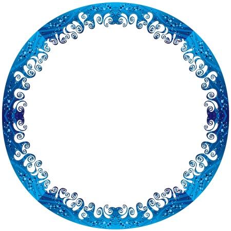 Round frame made of sea waves  Ilustração