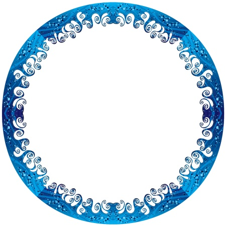 Round frame made of sea waves  Illustration