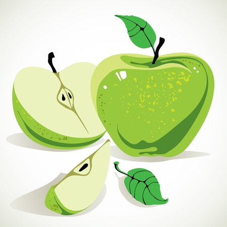 half of apple: Green apple with half apple and leaves. Illustration