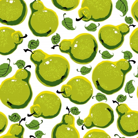 Ripe tasty pears seamless background. Vector