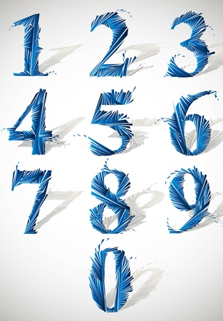 Abstract detailed smash vector numbers set. Vector