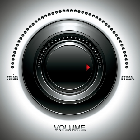 Black volume knob. Vector
