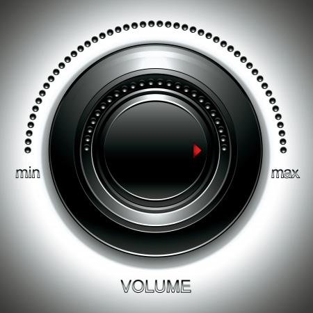 volume knob: Black volume knob.