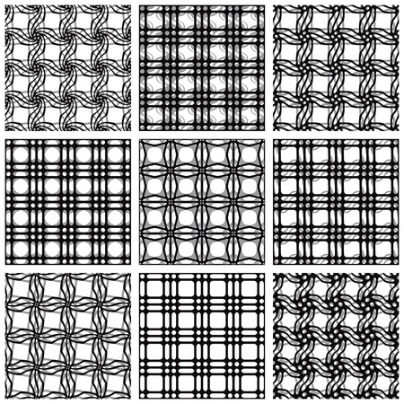 Set of black and white seamless patterns.  Vector