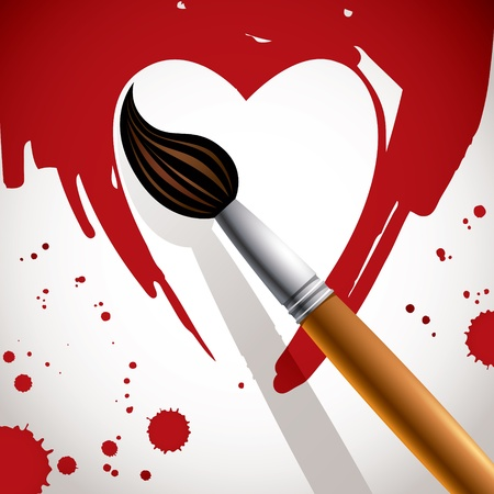 Heart painted with brush, valentine card Stock Vector - 15272174