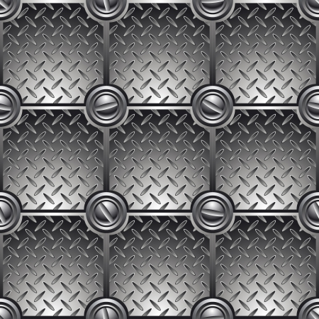 on metal: Fondo de metal baldosa conectado con tornillos Vectores