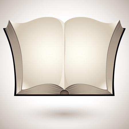leggere libro: Libro aperto con pagine bianche Vettoriali