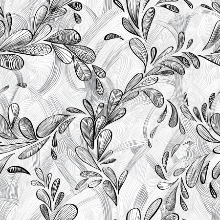 Abstract monochrome lined floral background. Vector