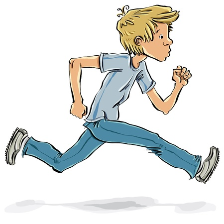 caucasian: Running and hurrying teen boy vector cartoon. Illustration