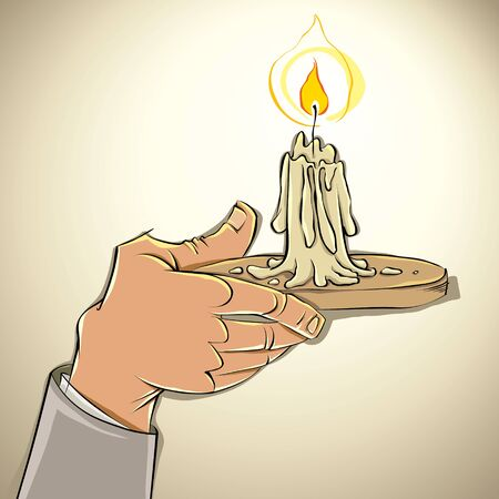 Hand with candle, vector illustration. Stock Vector - 15272461