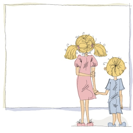 Girl and boy looking at blank board. Vector