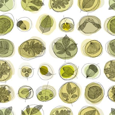 casta�as: Las hojas y semillas de patrones sin fisuras.