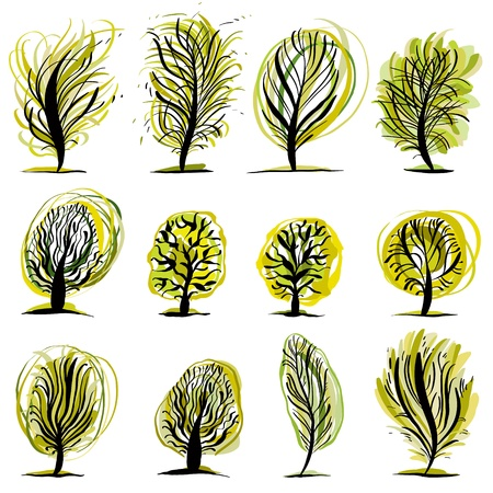 expressive style: Set of trees illustrations.