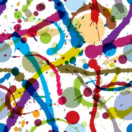 Colorful ink splatters seamless pattern. Illustration