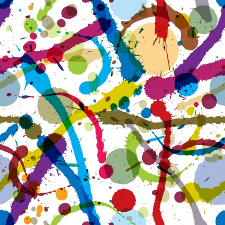 Colorful ink splatters seamless pattern. Illustration