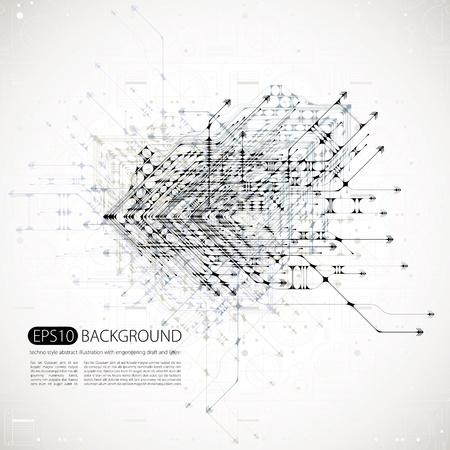 circuitos electronicos: fondo abstracto con estilo techno. Vectores
