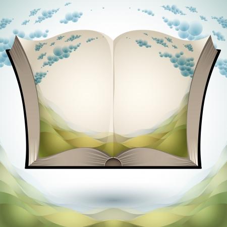 Abrir libro con el paisaje natural.