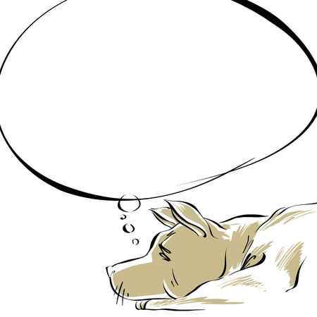 stitting: Dreaming dog.  Illustration