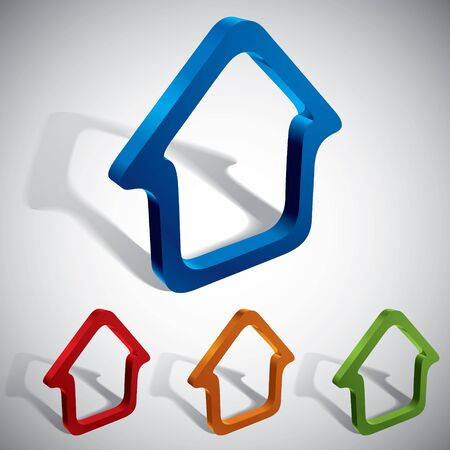 3d  home icons design, color set. Vector