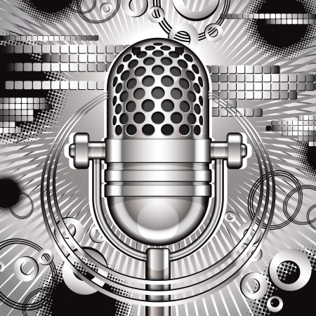 rock band: Music  illustration with retro microphone. Illustration