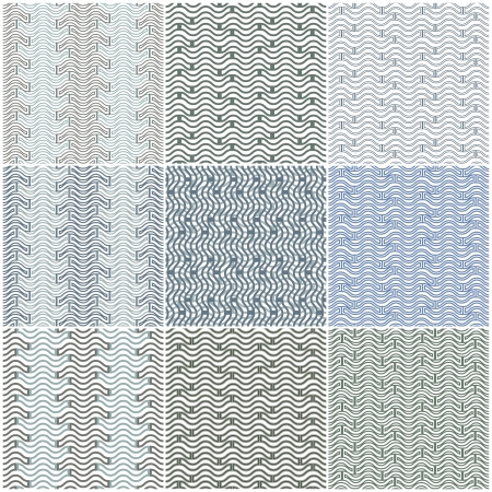 Waves seamless patterns set. Stock Vector - 15274707