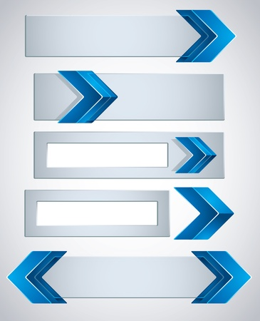 3d banners finished with blue arrows. Stock Vector - 15274590