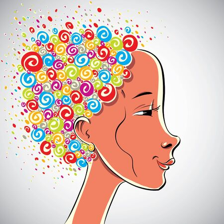 arty: Creativity illustration, girl with color curls hair