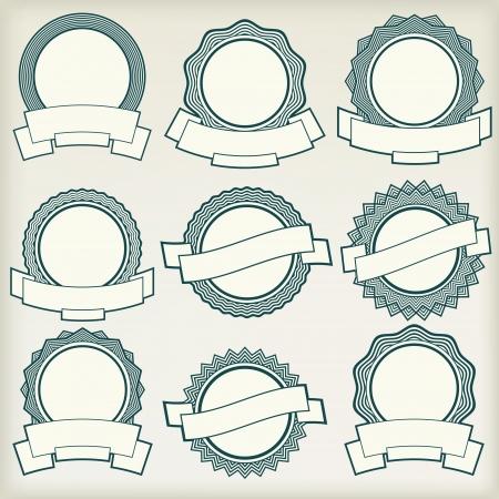 Vintage labels with stars and banners  Ilustração