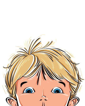 Surprised cute little boy face  Vector