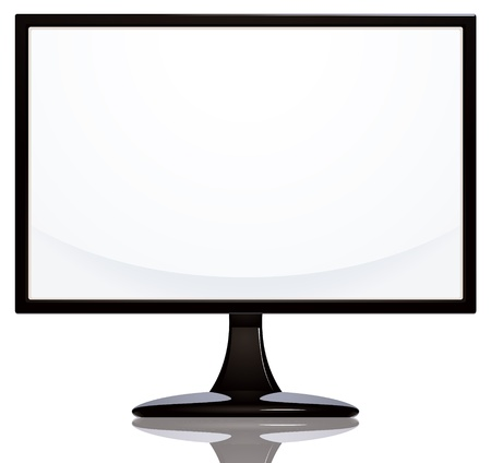 Computer monitor with blank white screen  Stock Vector - 15274584