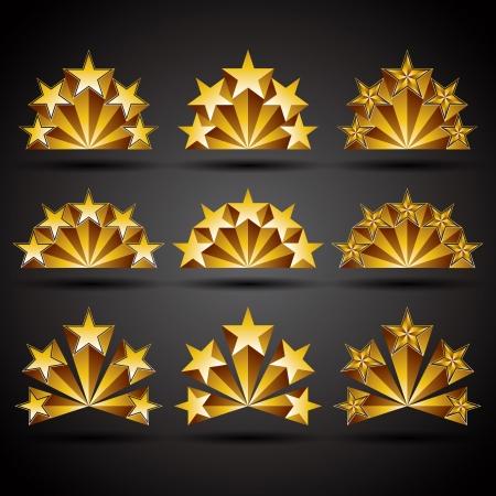votaciones: Cinco estrellas iconos de estilo cl�sico establecido Vectores